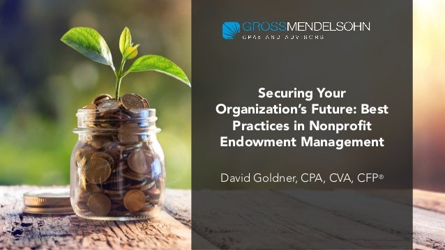 Securing Your Organization's Future: Best Practices in Nonprofit Endowment Management David Goldner, CPA, CVA, CFP®