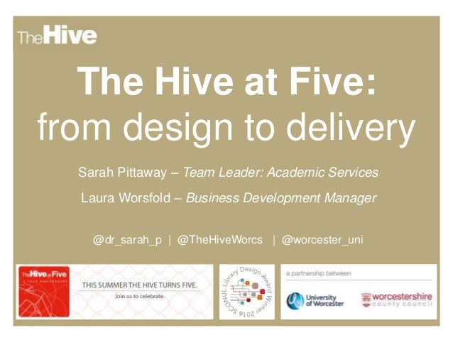 The Hive at Five: from design to delivery Sarah Pittaway – Team Leader: Academic Services Laura Worsfold – Business Develo...