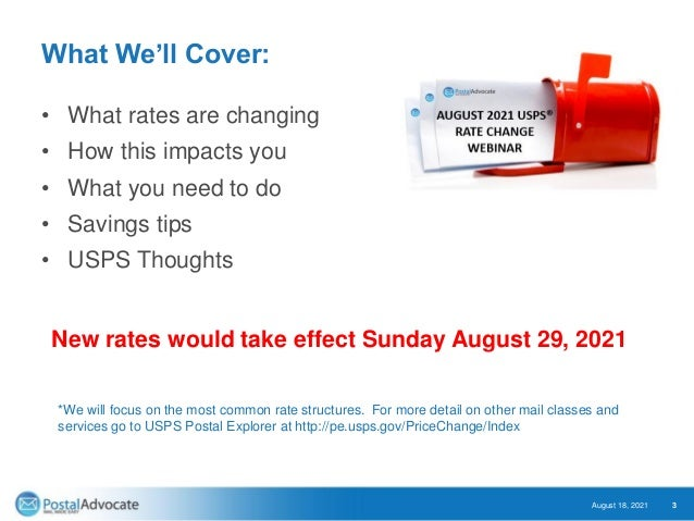 August 2021 – Largest USPS® Rate Increase in History Slide 3