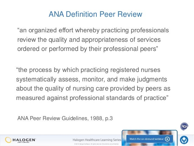 the many faces of peer review part 2 the manager s role rh slideshare net american nurses association ana guidelines for peer review Peer Review Clip Art