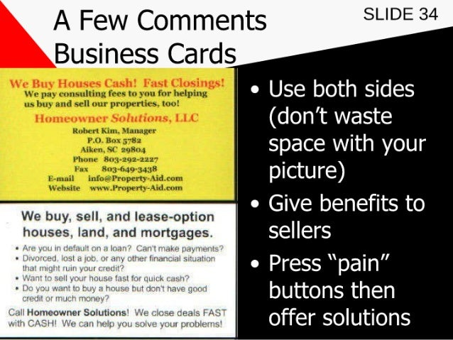 Marketing for real estate investors 34 a few comments slide 34 business card colourmoves