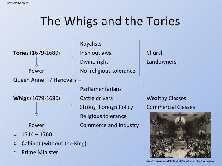 The Whigs and the Tories <ul><li>Royalists </li></ul><ul><li>Tories  (1679-1680)  Irish outlaws Church </li></ul><ul><li>D...