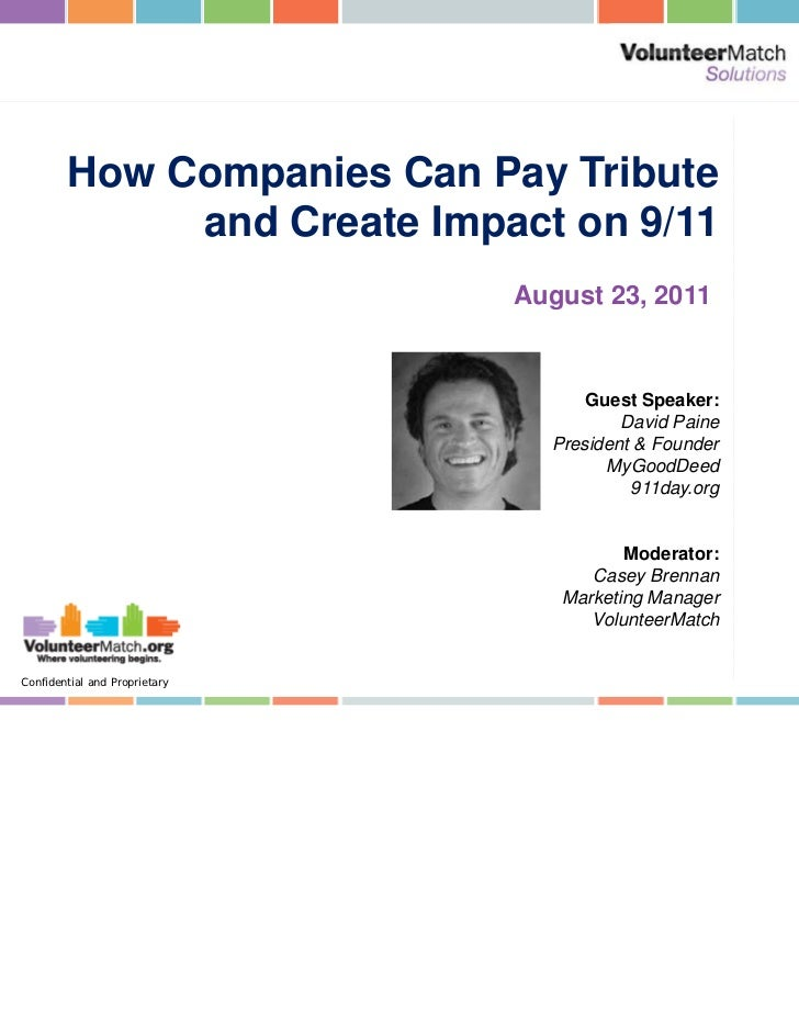 How Companies Can Pay Tribute             and Create Impact on 9/11                               August 23, 2011         ...
