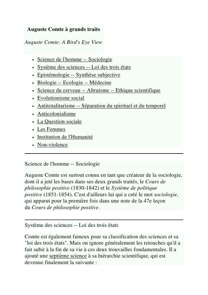 Auguste Comte à grands traitsAuguste Comte: A Birds Eye View   •   Science de lhomme -- Sociologie   •   Système des scien...