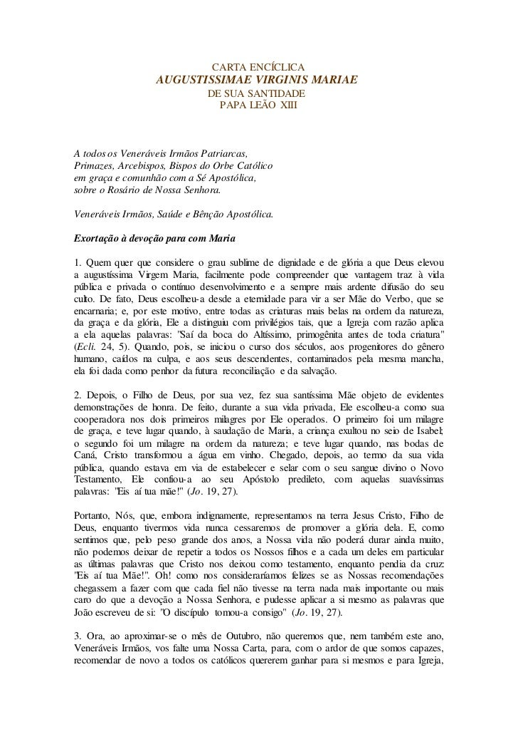 CARTA ENCÍCLICA                    AUGUSTISSIMAE VIRGINIS MARIAE                                DE SUA SANTIDADE          ...