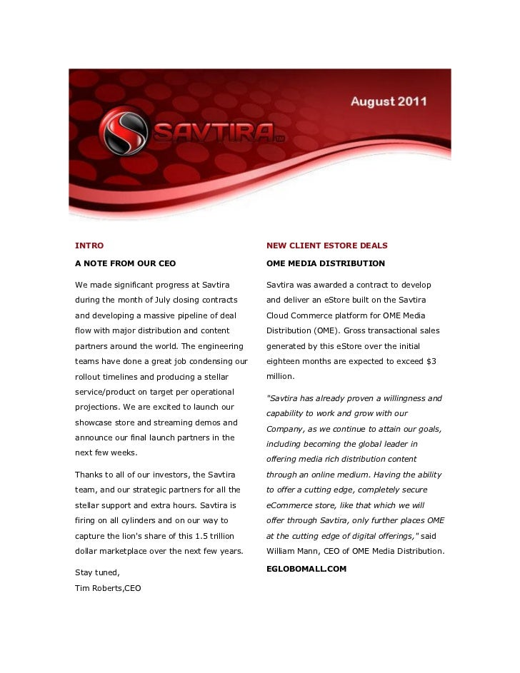 INTRO                                           NEW CLIENT ESTORE DEALSA NOTE FROM OUR CEO                             OME...