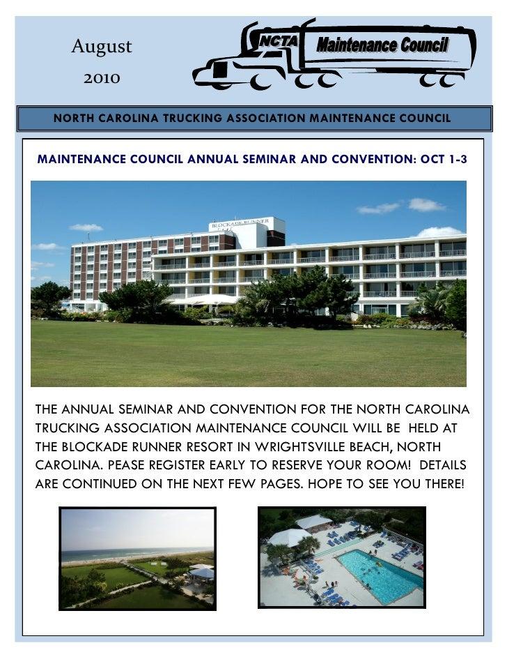August       2010   NORTH CAROLINA TRUCKING ASSOCIATION MAINTENANCE COUNCIL   MAINTENANCE COUNCIL ANNUAL SEMINAR AND CONVE...
