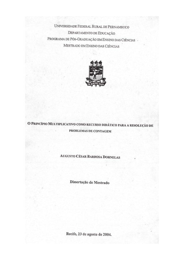 UNIVERSIDADE FEDERAL RURAL DE PERNAMBUCO DEPARTAMENTO DE EDUCAÇÃO.  PROGRAMA DE PÓS-GRADUAÇÃO EM ENSINO DAS CIÊNCIAS - MES...