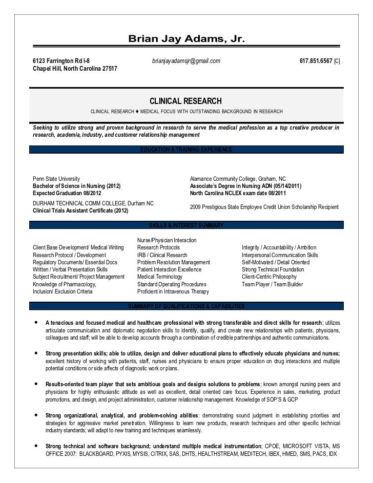 August Research Resume. Brian Jay Adams, Jr.6123 Farrington Rd I 8 ...  Clinical Research Assistant Resume