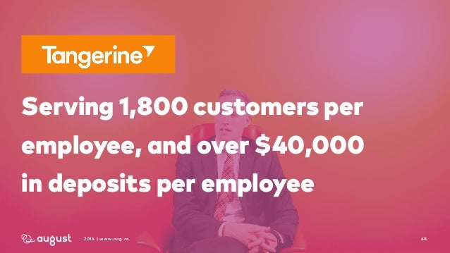 482016 | www.aug.co Serving 1,800 customers per employee, and over $40,000  in deposits per employee