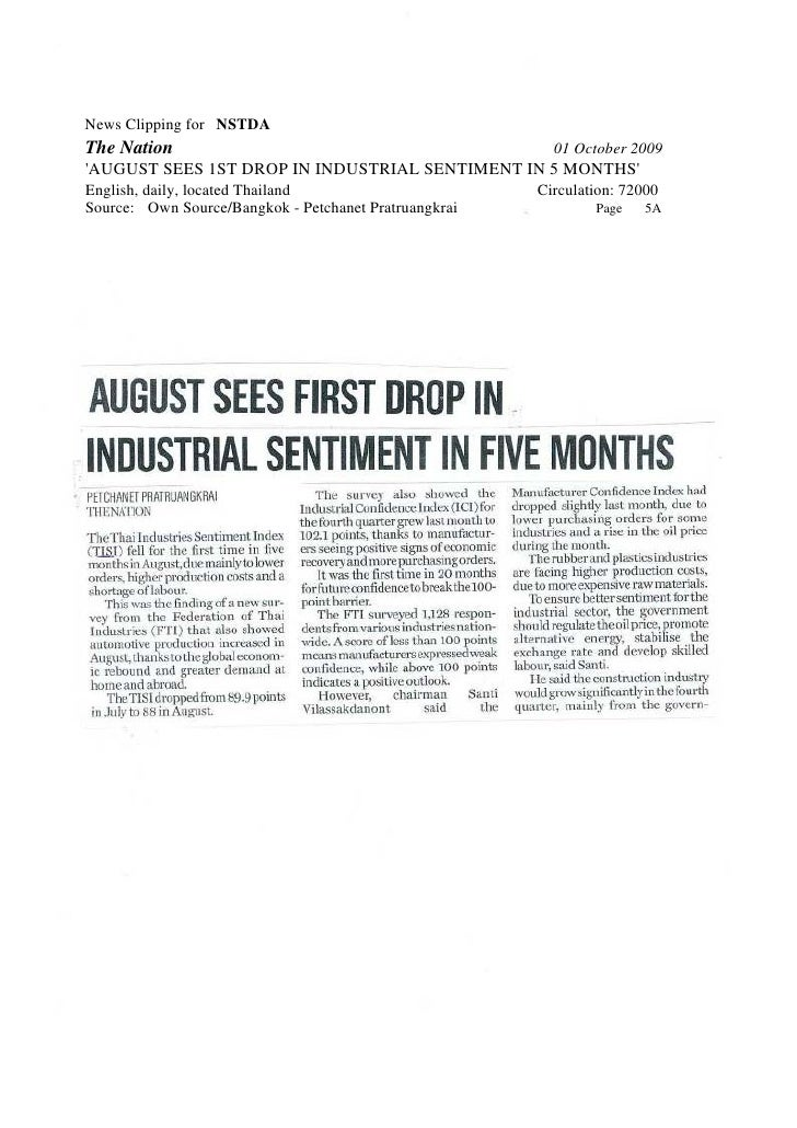 News Clipping for NSTDA The Nation                                               01 October 2009 'AUGUST SEES 1ST DROP IN ...