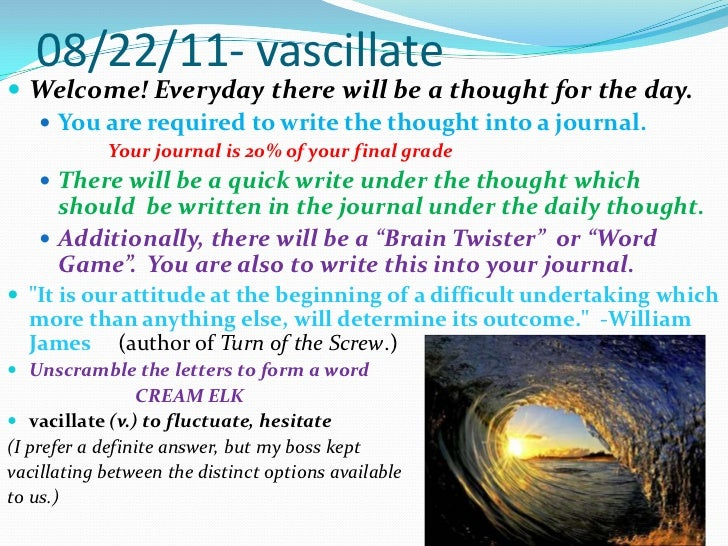 08/22/11- vascillate<br />Welcome! Everyday there will be a thought for the day.<br />You are required to write the though...
