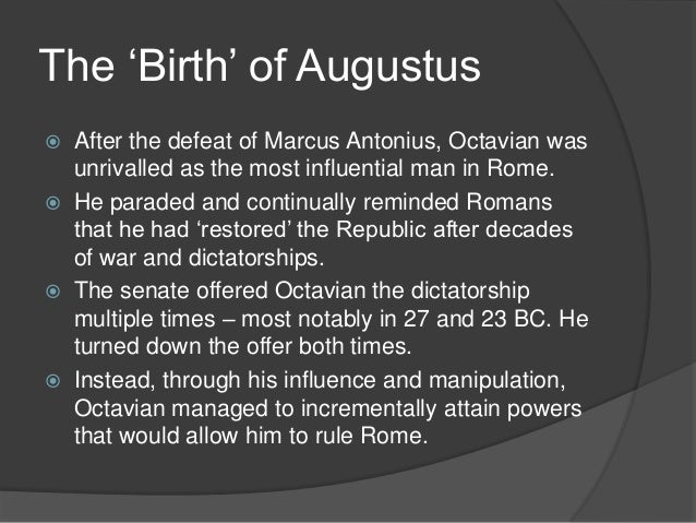 did augustus restore the republic essay Deeds of the divine augustus development of the constitutional position of caesar augustus did augustus restore the republic haven't found the essay you want.