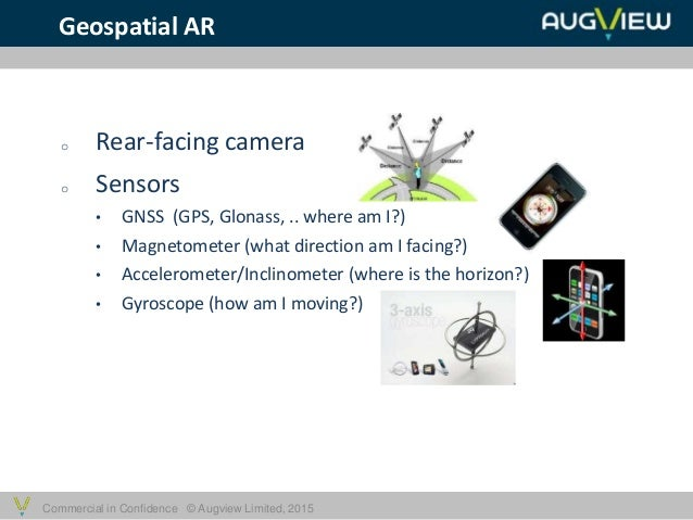 Commercial in Confidence © Augview Limited, 2015 Geospatial AR o Rear-facing camera o Sensors • GNSS (GPS, Glonass, .. whe...