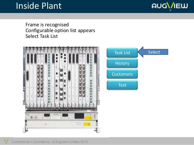Commercial in Confidence © Augview Limited, 2015 Inside Plant Frame is recognised Task List History Customers Test Configu...