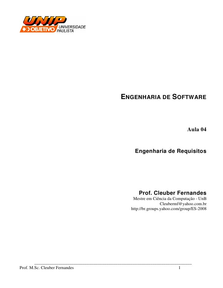 ENGENHARIA DE SOFTWARE                                                                                    Aula 04         ...