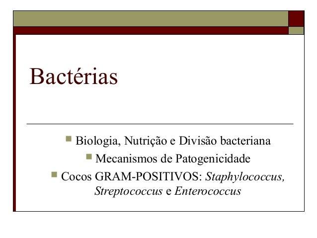 Bactérias  Biologia, Nutrição e Divisão bacteriana  Mecanismos de Patogenicidade  Cocos GRAM-POSITIVOS: Staphylococcus,...
