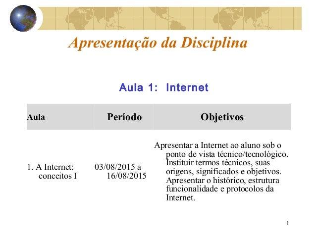 1 Apresentação da Disciplina Aula Período Objetivos 1. A Internet: conceitos I 03/08/2015 a 16/08/2015 Apresentar a Intern...