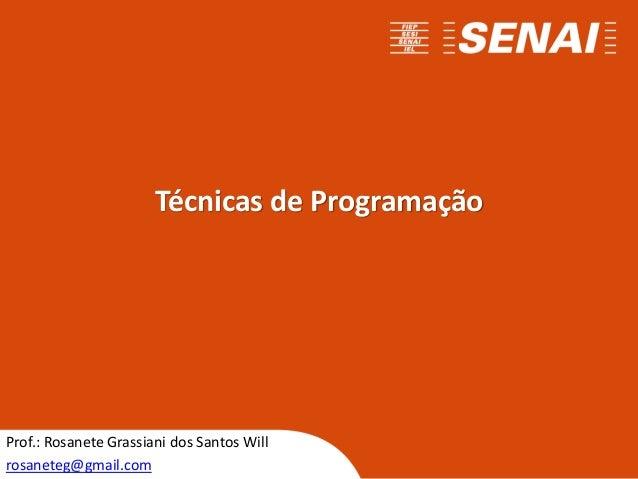 Técnicas de Programação Prof.: Rosanete Grassiani dos Santos Will rosaneteg@gmail.com
