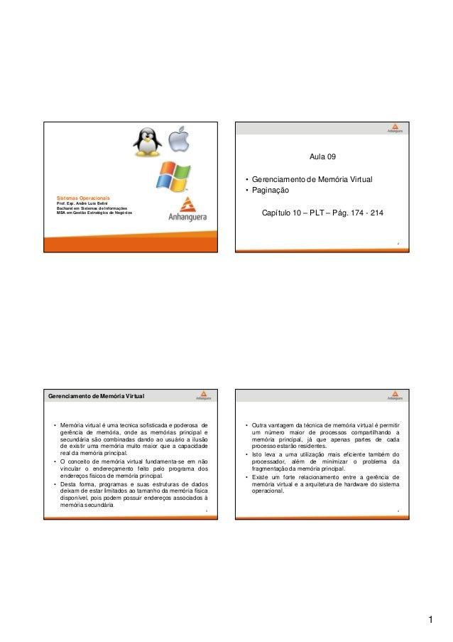 1  Sistemas Operacionais  Prof. Esp. André Luís Belini  Bacharel em Sistemas de Informações  MBA em Gestão Estratégica de ...