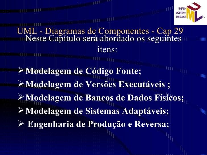 UML - Diagramas de Componentes - Cap 29 <ul><li>Neste Capítulo será abordado os seguintes itens: </li></ul><ul><li>Modelag...