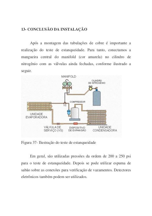 13- CONCLUSÃO DA INSTALAÇÃO Após a montagem das tubulações de cobre é importante a realização do teste de estanqueidade. P...