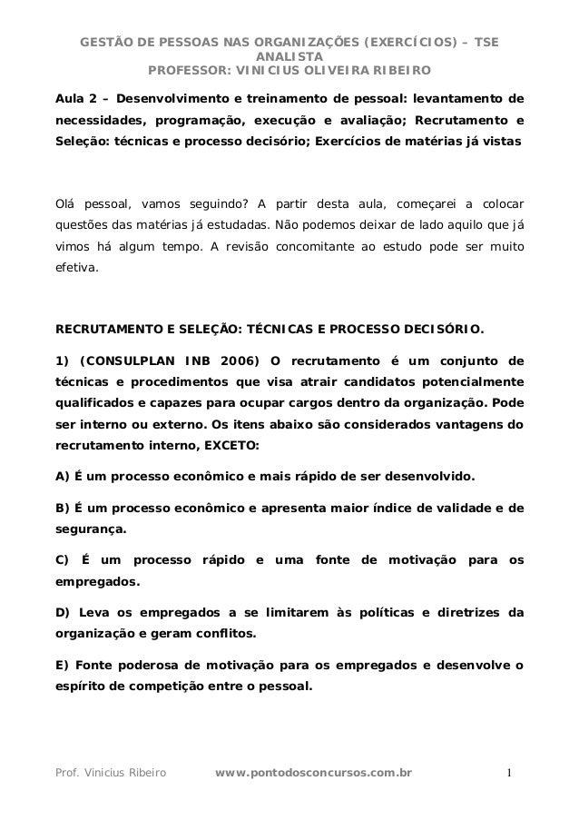 GESTÃO DE PESSOAS NAS ORGANIZAÇÕES (EXERCÍCIOS) – TSE ANALISTA PROFESSOR   VINICIUS OLIVEIRA RIBEIRO ... 2b149151acf30