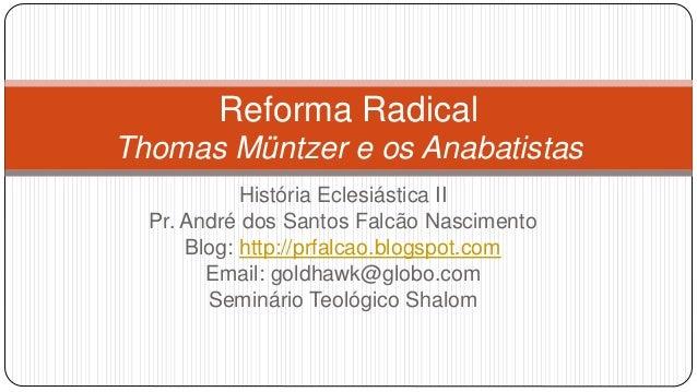 Reforma Radical  Thomas Müntzer e os Anabatistas  História Eclesiástica II  Pr. André dos Santos Falcão Nascimento  Blog: ...