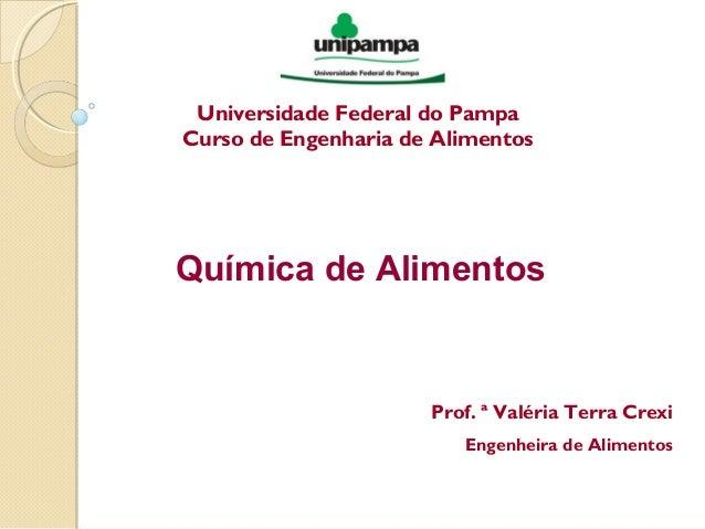 Universidade Federal do Pampa Curso de Engenharia de Alimentos Química de Alimentos Prof. ª Valéria Terra Crexi Engenheira...