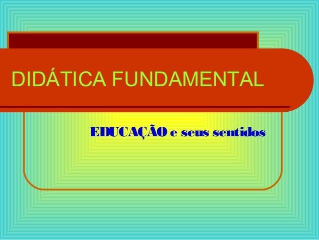 DIDÁTICA FUNDAMENTAL EDUCAÇÃO e seus sentidos
