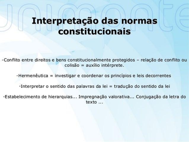 Interpretação das normasInterpretação das normas constitucionaisconstitucionais -Conflito entre direitos e bens constituci...