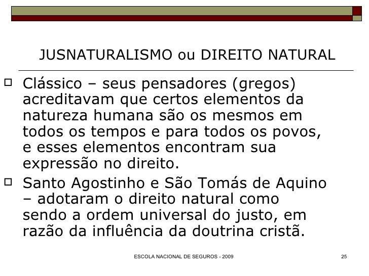 JUSNATURALISMO ou DIREITO NATURAL <ul><li>Clássico – seus pensadores (gregos) acreditavam que certos elementos da natureza...
