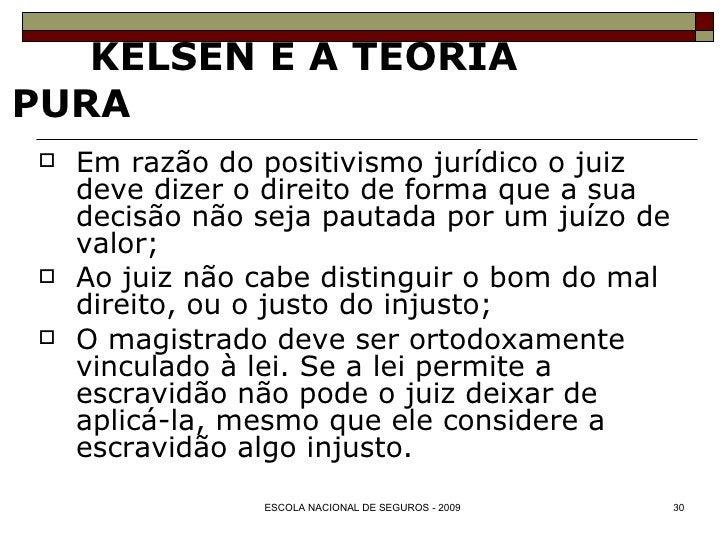 KELSEN E A TEORIA PURA <ul><li>Em razão do positivismo jurídico o juiz deve dizer o direito de forma que a sua decisão não...