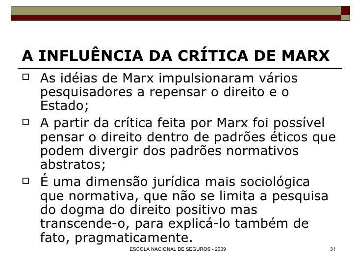 A INFLUÊNCIA DA CRÍTICA DE MARX <ul><li>As idéias de Marx impulsionaram vários pesquisadores a repensar o direito e o Esta...