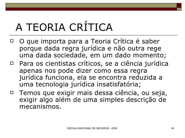 A TEORIA CRÍTICA <ul><li>O que importa para a Teoria Crítica é saber porque dada regra jurídica e não outra rege uma dada ...