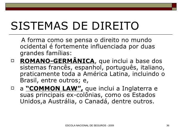 SISTEMAS DE DIREITO <ul><li>A forma como se pensa o direito no mundo ocidental é fortemente influenciada por duas grandes ...