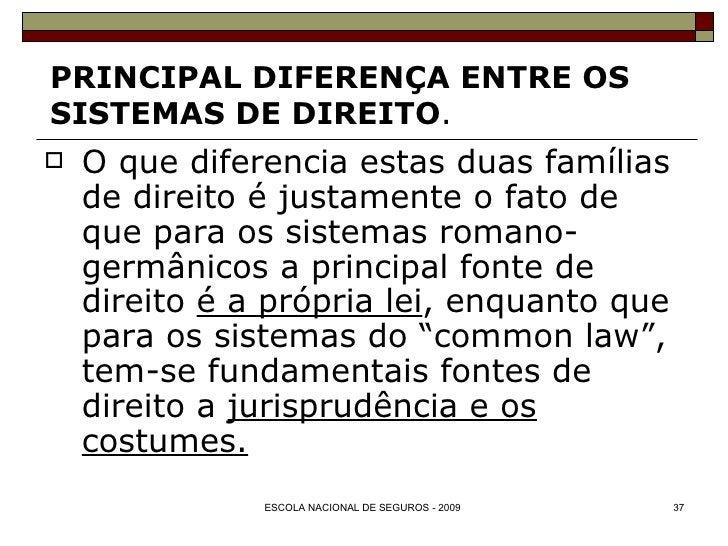 PRINCIPAL DIFERENÇA ENTRE OS  SISTEMAS DE DIREITO . <ul><li>O que diferencia estas duas famílias de direito é justamente o...