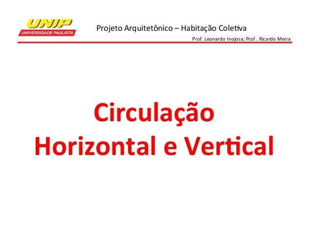 Projeto  Arquitetônico  –  Habitação  Cole7va   Prof.  Leonardo  Inojosa;  Prof  .  Ricardo  Meira ...