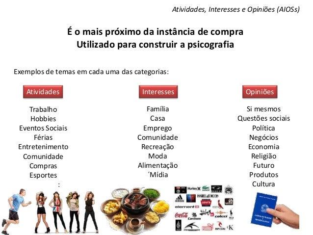 Atividades, Interesses e Opiniões (AIOSs) É o mais próximo da instância de compra Utilizado para construir a psicografia E...