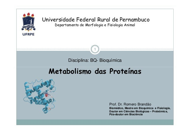 Universidade Federal Rural de Pernambuco Departamento de Morfologia e Fisiologia Animal  1  Disciplina: BQ- Bioquímica  Me...