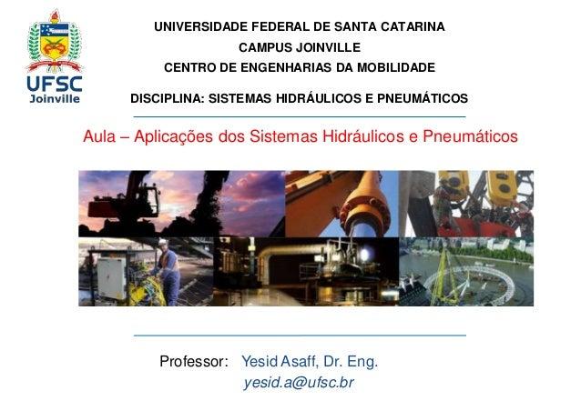 UNIVERSIDADE FEDERAL DE SANTA CATARINA  CAMPUS JOINVILLE  CENTRO DE ENGENHARIAS DA MOBILIDADE  DISCIPLINA: SISTEMAS HIDRÁU...