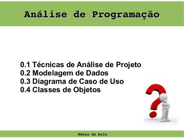 AnálisedeProgramação  0.1 Técnicas de Análise de Projeto 0.2 Modelagem de Dados 0.3 Diagrama de Caso de Uso 0.4 Classes ...