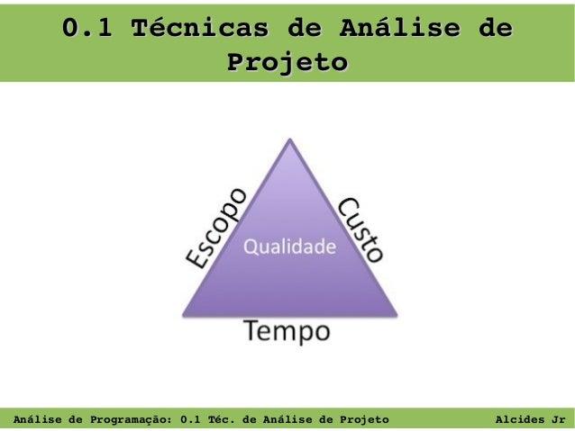 0.1TécnicasdeAnálisede Projeto  AnálisedeProgramação:0.1Téc.deAnálisedeProjeto  AlcidesJr