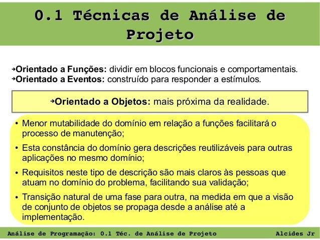 0.1TécnicasdeAnálisede Projeto Orientado a Funções: dividir em blocos funcionais e comportamentais. ➔Orientado a Even...