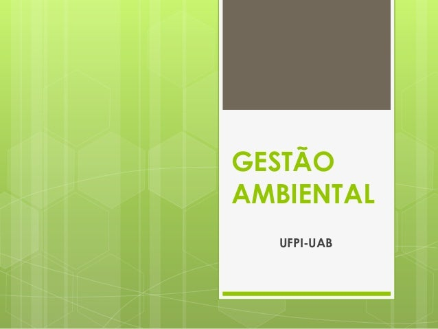 GESTÃO AMBIENTAL UFPI-UAB