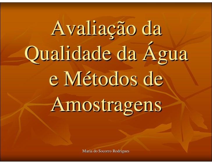 Avaliação da Qualidade da Água   e Métodos de   Amostragens       Maria do Socorro Rodrigues