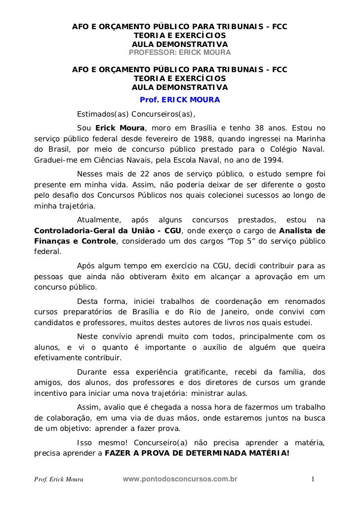 AFO E ORÇAMENTO PÚBLICO PARA TRIBUNAIS - FCC                         TEORIA E EXERCÍCIOS                         AULA DEMO...