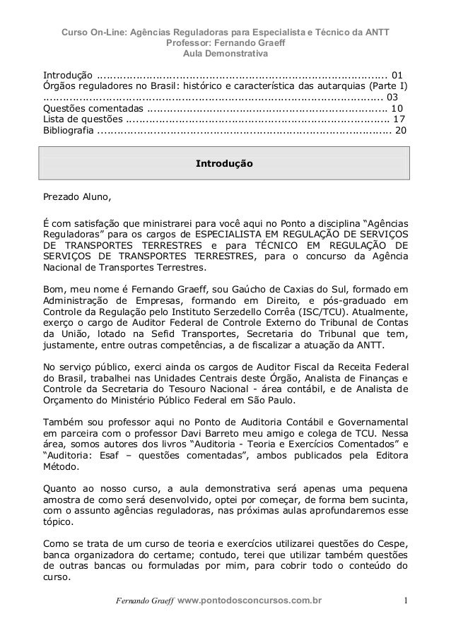 Curso On-Line: Agências Reguladoras para Especialista e Técnico da ANTT Professor: Fernando Graeff Aula Demonstrativa Fern...