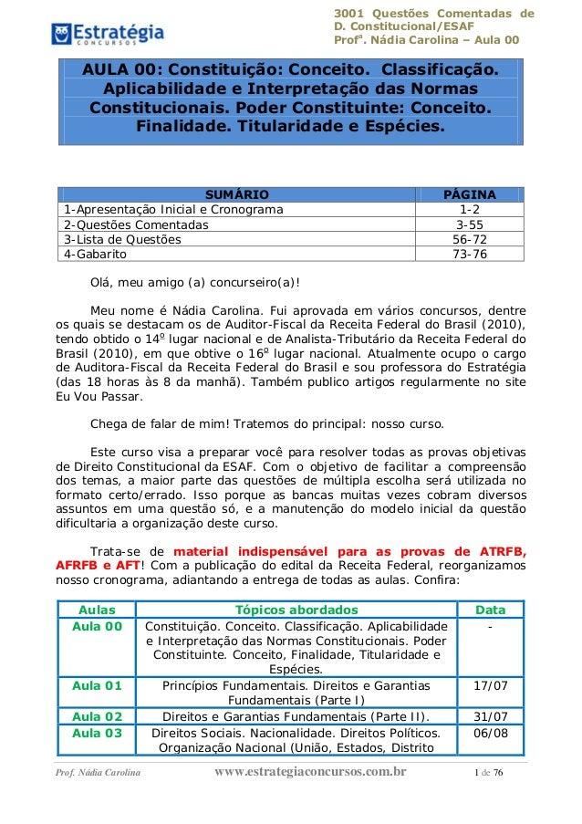 3001 Questões Comentadas de D. Constitucional/ESAF Profa . Nádia Carolina – Aula 00 Prof. Nádia Carolina www.estrategiacon...