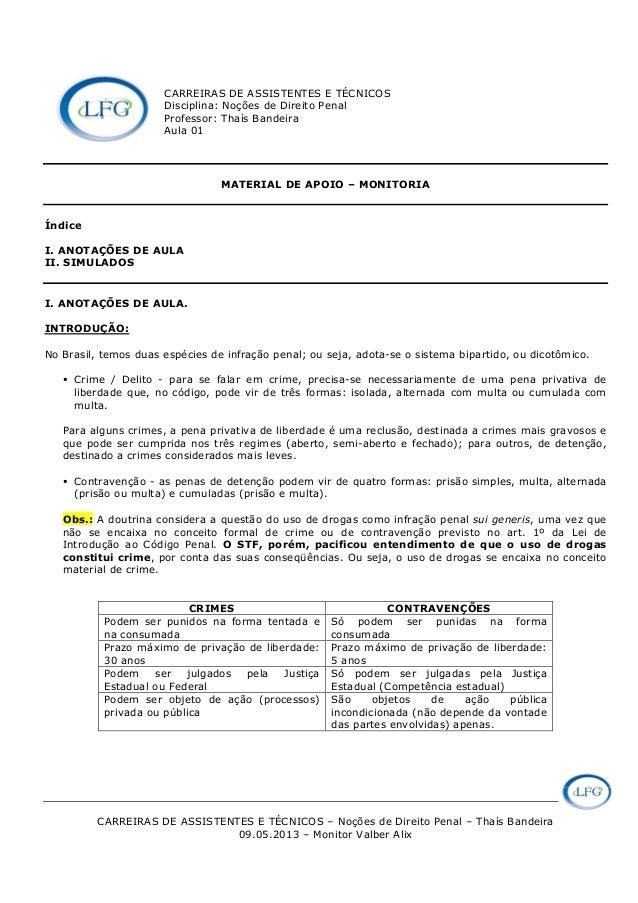 CARREIRAS DE ASSISTENTES E TÉCNICOS – Noções de Direito Penal – Thaís Bandeira 09.05.2013 – Monitor Valber Alix CARREIRAS ...